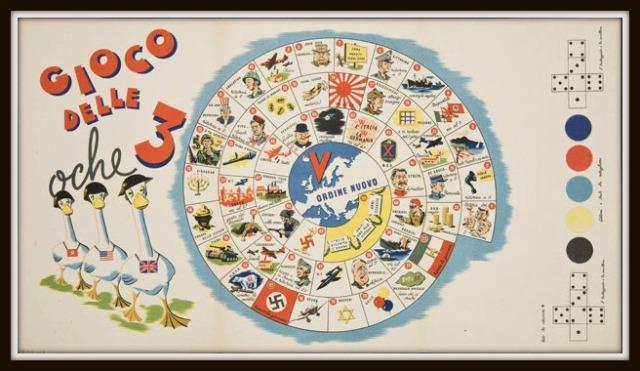 Il Gioco delle 3 Oche disegnato nel 1944 da un autore sconosciuto italiano.